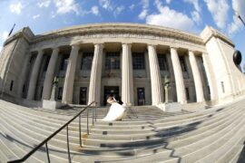 Indianapolis Public Library Bride and Groom on Front Steps