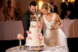 Ritz Charles Ballroom Wedding Couple Cutting Cake